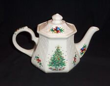 "VINTAGE SADLER ENGLAND SALEM ""CHRISTMAS EVE"" PORCELAIN TEAPOT, LATTICE PATTERN"