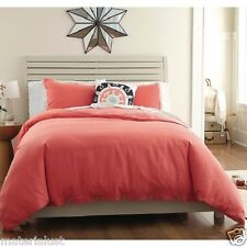 New THRESHOLD Washed Linen Duvet Set 3 Piece Set CORAL ORANGE RED KING