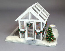 Doll house miniature Quarter scale  greenhouse fully decorated for Christmas