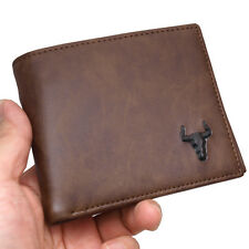 Bi-Fold Wallets For Mens Credit Card Purse Zipper Pocket ID Window Brown F7002B