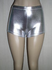 Hot SHINY SILVER Faux Leather METALLIC Spandex USA Derby SHORTS 2X 3X 20 22 24