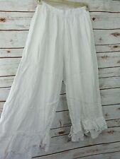 SHABBY MAGNOLIA eyelet PANTS pearl color bloomers FLAX COUNTRY OOAK LINEN WHITE