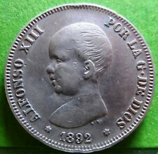 ALFONSO XIII   2 PESETAS 1892  Stars  1(8) - 92  Silver  SPAIN