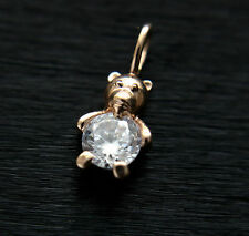 585 Russian Red Rose 14K Gold CZ Bear Pendant Gift boxed