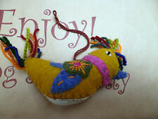 Hanging Bird Decoration Home Gift Felt Stitching Hand Made India Multi Colour