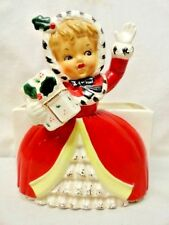 Vintage_ Napco_Christmas_Shopper_Girl_Planter_Mica_Gold_Holly_Berry_Candy_Holder
