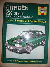CITROEN ZX Inc VOLCANE HAYNES WORKSHOP MANUAL DIESEL +TURBO 1991-1993 91-93 J-L