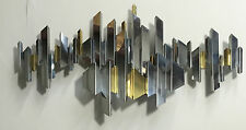 Mid Century Chrome & Brass Cityscape Wall Sculpture Brutalist Art by C. Jere LRG