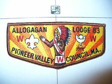 OA Allogagan Lodge 83 S6,1980s ORG/YL Flap,277,507,556,Pioneer Valley Council,MA