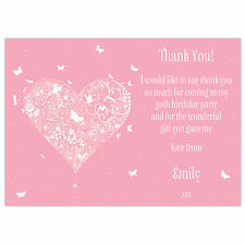Personalised Birthday Party Invitations or Thank You Cards Pink Butterfly Heart