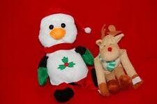 Christmas Holiday Penguin Red Stocking Hat Rudolph Reindeer Scarf Plush Stuffed