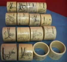 Set of 16 Acrylic Plastic Napkin Rings Hand Made Etched Original Art JTC Unique