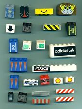 LEGO Lot of 25 MIXED Specialty Bricks Stickers Printed Police Roadside Animal