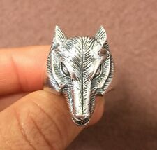 Men Solid 925 Sterling silver Wolf Head Band Mens 3D ring size 11