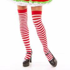 Red and White Horizontal Striped Thigh High Hi Nylon Sock Hosiery Costume 1877