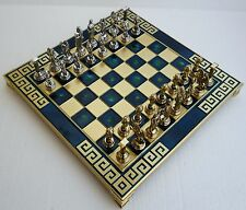 Greek Mythology Chess Set with Bronze Board & Metal Pieces Made in Greece 10.63""