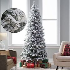 Flocked Christmas Pine Tree 8 Ft Pre Artificial Holiday White Snow 1000Tips NEW