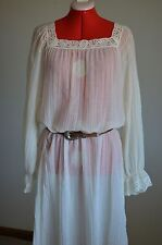 Impression-M-Beige-Crochet/Lace Trim-Maxi Dress-Peasant/Hippie/Boho/Festival