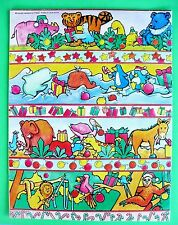 "VINTAGE CHRISTMAS GIFT WRAP HIGHLIGHTS/CHILDREN ANIMALS  21 1/2"" X 17"" 2 SHEETS"