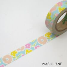 Washi Tape - Sweet Pastel Bouquet 15mm x 10m Pink Blue Yellow Floral Flowers