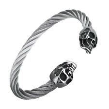 Men's Elastic Stainless Steel Twisted Cable Skull Bracelet Silver Tone