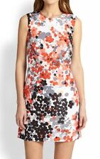 $695 RED VALENTINO Abstract Flower Print ORANGE WHITE SHORT MINI DRESS SMALL