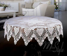 "White Tablecloth Round Lace Crochet Effect 59"" 150cm  Premium Quality"