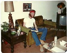 Vintage Old 1970's Photo Man with Beard Blue Jeans Red Bandana Coors Beer Cans