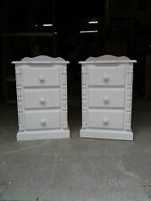 SOLID WOOD PAINTED PINE WHITE SHABBY CHIC 3 DRAWER BEDSIDE CABINET X 2