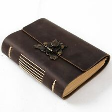 Ancicraft Leather Journal with Vintage Butterfly Lock A6 Blank Paper Brown Gift