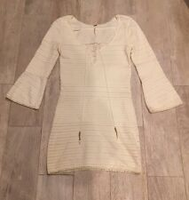 Women's Free People Dress White Cream Lace Up Bell Sleeve Gold Bead Fitted Sz XS