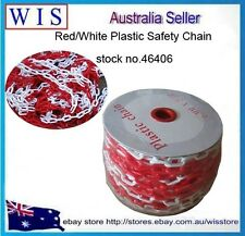 Red &White Plastic Safety Chain 6mm x 25 meter roll,Plastic Link Chain-46406