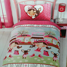 New Girls Pink I Love to Shop Chihuahua Dog Shopping Single Duvet Set