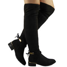 WOMENS LADIES OVER THE KNEE STRETCH LONG THIGH HIGH LOW HEEL BOOTS SHOES SIZE