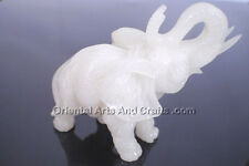 Heavy Trunk Up Elephant White Carved Stand Figurine Asian Oriental Gift Ideas