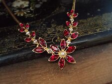 Vintage Gold with Ruby Red and Light Amethyst Crystal Flower Necklace