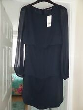 new with tag warehouse SCALLOPED CREPE DRESS SIZE 6 NAVY BLUE