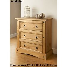 New Rio 3 Drawer Chest Besides Bedroom Solid Pine Furniture