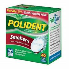 Polident Smokers, Antibacterial Denture Cleanser 40 ea (Pack of 3)