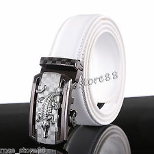 Men's Genuine Leather Silver Automatic Buckle White Waist Strap Belt Waistband