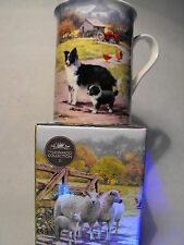 BORDER COLLIE GIFT MUG BLACK AND WHITE SHEEPDOG MUG GIFT PRESENT FARM SCENE MUG