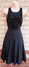 NEXT PLEATED BLACK CROCHET SEQUIN BEADED FLIPPY SKATER PARTY COCKTAIL DRESS 12 M