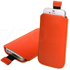 ORANGE PU LEATHER PULL-UP POUCH CASE SLEEVE FOR BLACKBERRY 9800 / 9810 TORCH