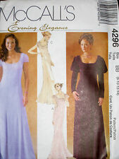 McCalls Misses Evening Elegance Peasant Empire Gown Dress Pattern 4296 UC 8-14