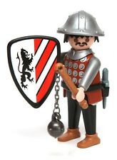 Playmobil Figure Castle Knight w/ Helmet Dagger Flail Lion Crest Shield 3667
