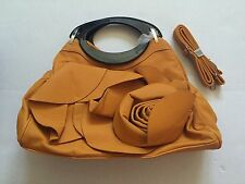 �� Generic No-Brand Beautiful Tan/Orange Flower Handbag/Purse-Faux Leather