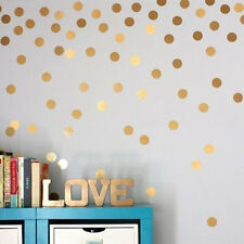 Home Living Room Bedroom Wall Sticker Gold Plated Round Dot Pattern Sticker HR