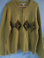WOMENS UGLY CHRISTMAS SWEATER CARDIGAN ZIP PINECONES BIRDS WINTER 1X