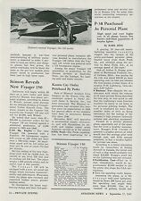 1945 Aviation Article New Stinson Aircraft Voyager 150 Personal Airplane Flying