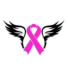 Breast Cancer With Black Angels Wings Auto Car Decal Sticker Vinyl Graphic